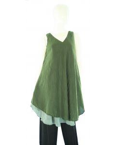 DARK GREEN Lagenlook Cotton Tunic Top S US
