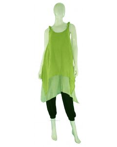 GREEN Lagenlook Cotton Tunic Top S US