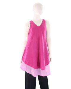 FUCHSIA Lagenlook Cotton Tunic Top S US