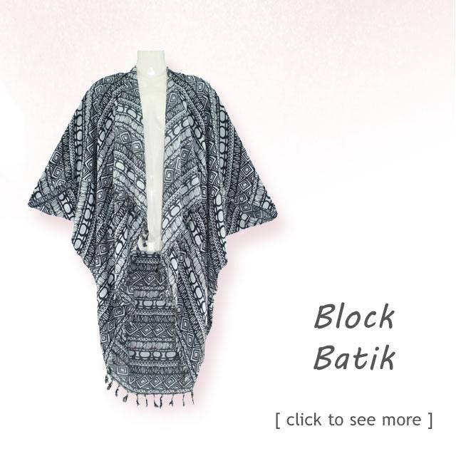 Hand Draw, Block Printed, Batik Kimono Jacket