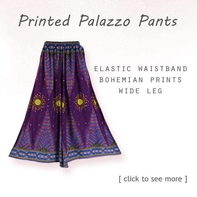 Boho Women Palazzo Wide Leg Pants, Comfort,Relax,Stylish.